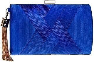 Redland Art Women's Fashion Polyester Woven Mini Clutch Bag Wristlet Shoulder Crossbody Evening Handbag Catching Purse Bag for Wedding Party (Color : Blue)