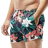 Yowablo Shorts Hommes Maillots De Bain Respirants Pantalons Maillots De Bain Slim Wear Flower Printing (S,3Noir)