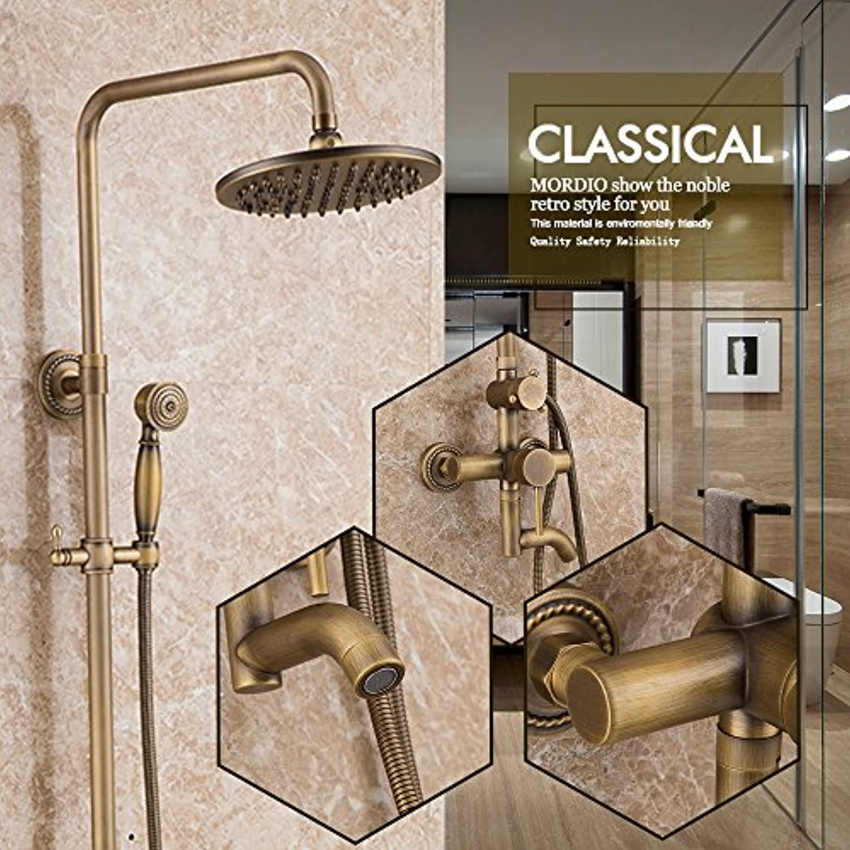 Luxurious shower Badezimmer Dusche feste Roundwall angebrachten Wasserhahn Handheld Duschkopf Antike inspiriert aus massivem Messing Dusche Dusche Armaturen, Gelb