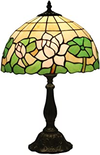 GDLight Tiffany Style Table Lamps Pink Lotus Green Leaves Stained Glass Bedside Lamp for Living Room Bedroom Coffee Reading, 19.3 Inch Tall,Resinbase