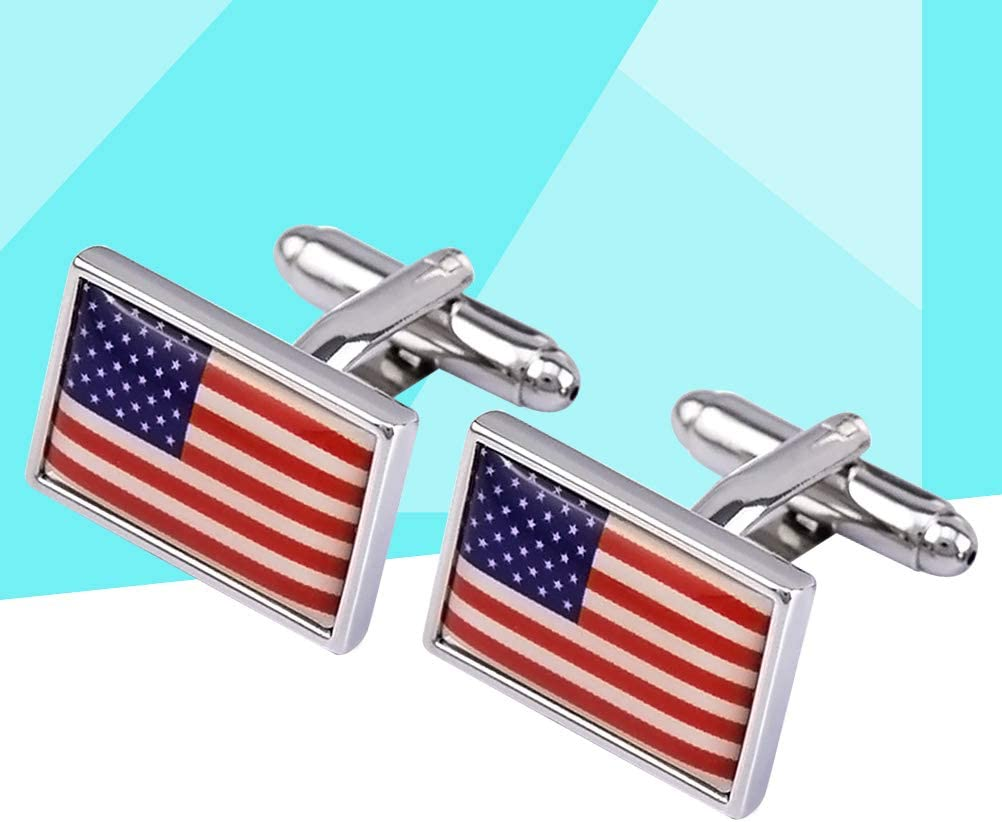 Amosfun 1 Pair American Flag Design Cuff Links Square Shirt Sleeve Decor Cufflinks Replacement Cuff Studs 4th of July Decorations