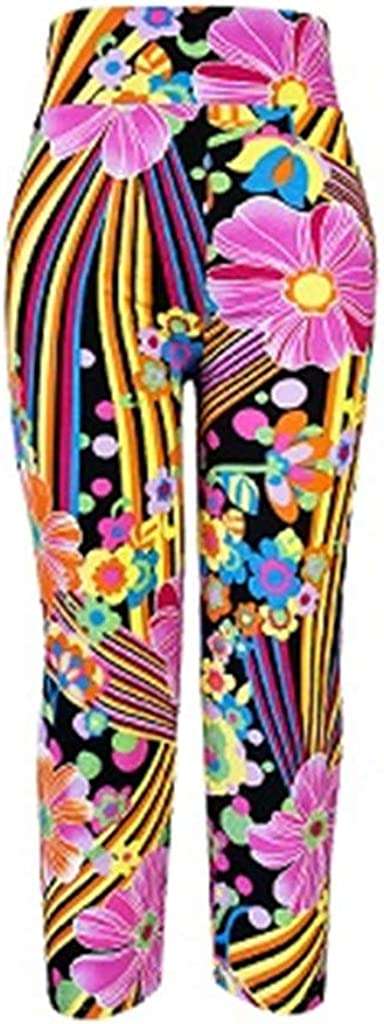 iCJJL Womens Floral Printe Yoga Capris Leggings Extra Soft Seamless Workout Active Pants for Gym Fitness Running