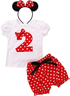 Minnie Costume Toddler Baby Girls Birthday Outfit Short Sleeve Tops+Polka Dot Pants+Ear Headband Summer Shorts Clothes