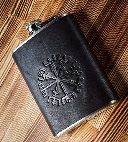 Hand Made Real 100% Leather Stainless Steel Flask - Unique Gift for Men Black Leather Flask 8oz - Hip Flask - Pocket Liquor Flask - Flasks for Men 8 oz