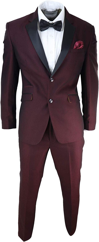 House Of Cavani Mens Wine Tuxedo Dinner Suit Black Satin Lapels 2 Button Slim Fit Wedding Prom