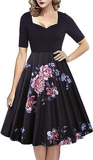 GIKING فساتين كلاسيكية للنساء قصيرة الأكمام الأزهار المرقعة التأرجح ميدي اللباس