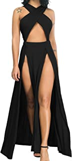 Limtery Women Sexy Hollow Out Halter Wrap Sleeveless Plain Pleated Slit Casual Long Maxi Dress
