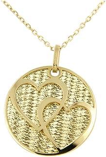 forme di Lucchetta per Donna - Orecchini o Collana con Due Cuori Intrecciati in Vero Oro Giallo