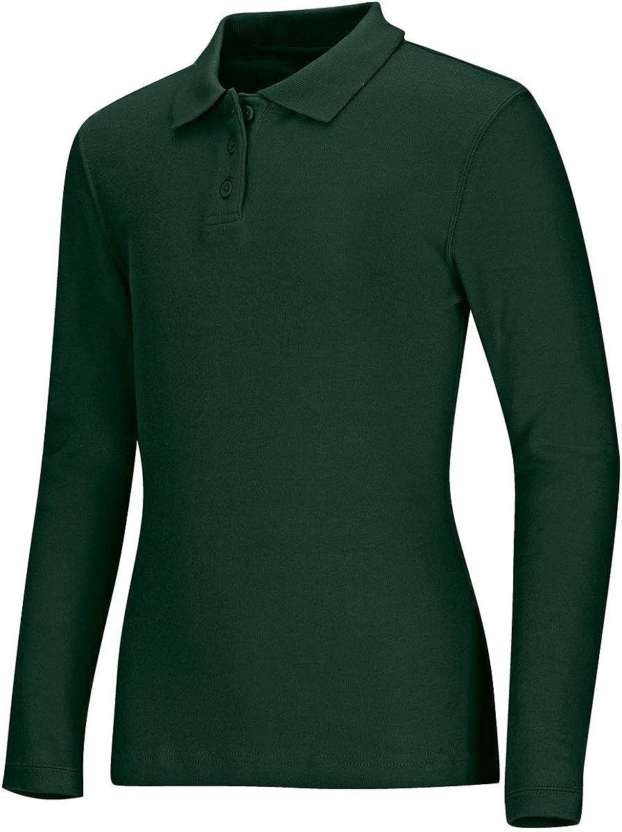 Classroom School Uniforms Women's Junior's Long Sleeve Fitted Interlock Polo