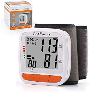 LotFancy Blood Pressure Monitor Cuff Wrist, Digital BP Monitor with Wristband, 2 Users,..