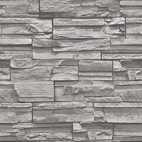 xiajingjing 3D Antik Brick Muster Tapete Schlafzimmer Wohnzimmer TV Hintergrund Dekoration Bricks Retro Tapete, Only the wallpaper, Dark grey 08142