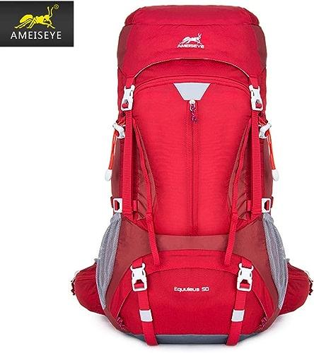 DYYTR Randonnée Sports Sac à Dos 50L, Camping Running Cyclisme, Housse imperméable à l'eau avec Housse de Pluie,rouge