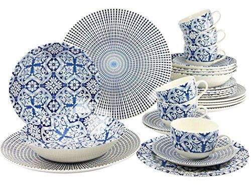 Creatable, 19925, Serie Marrakesch Blue, Geschirrset 30 teilig Kombiservice, Stein, Mehrfarbig, 40 x 32.5 x 32 cm, Einheiten