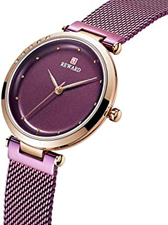 34mm Stainless Steel Mesh Belt Fashion Waterproof 3ATM Holiday Gift Student Decoration Purple Gold Black Blue Woman Girl Lady Simple Ultra-Thin 8mm Quartz Watch