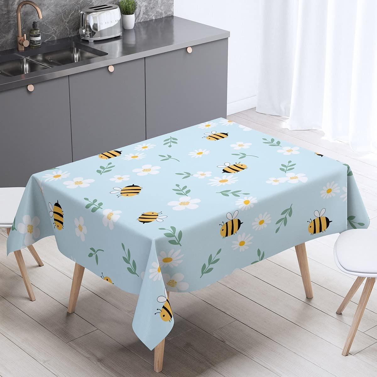 Erosebridal Honey Bee Table Clothes White Floral Tablecloths Cartoon Farmhouse Animals Table Cover for Kids Boys Girls Flower Field Garden Theme Pastoral Tabletop Collection Child Room Decor 55