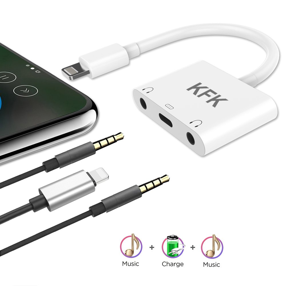 KFK Compatible Adapter Splitter Replacement for Iph X / 8/8 Plus / 7/7 Plus, 3.5 mm Headphone Jack Charger, 2 in 1 Audio AUX Music Control Charge Connector