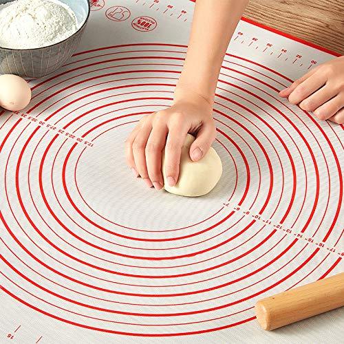 Teigroller mit Silikonmatte, Backen Nudelholz +Edelstahl Teigschaber +Küche Backunterlage Matten für Gebäck, Pizza, Nudeln und Kekse (50 * 70cm,3 in 1 Set)
