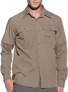 EKLENTSON Men's Quick Dry Hiking Shirt Convertible Long Sleeve Work Shirt with Inner Mesh