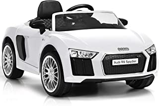 12 V Audi R8 Spyder Licensed Electric Kids Riding Car. Ride on Car with Parental Remote Control. Motorized Vehicle for Children (White)