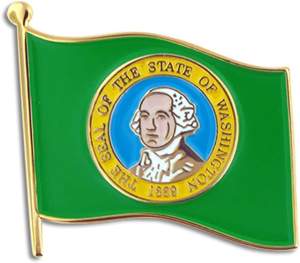 PinMart Washington US State Flag WA Enamel Lapel Pin 1