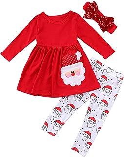 Christmas Party Clothing Set Toddler Baby Girls Princess Dress Tshirt + Santa Pant + Headband 3pcs Outfits