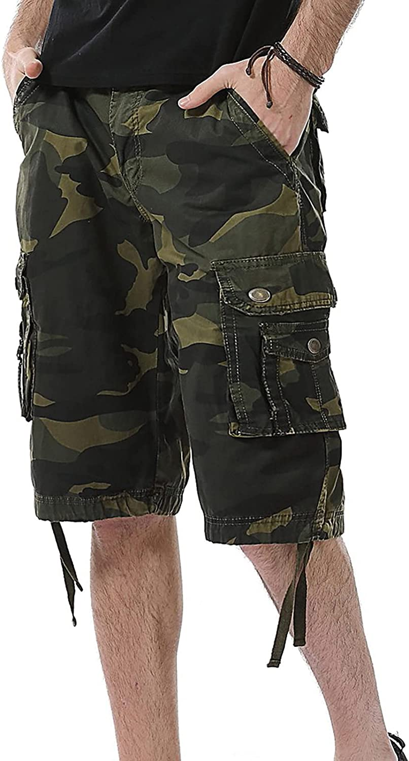 acction Men's Cargo Shorts, Cargo Shorts Relaxed Fit Big and Tall Multi Pocket Outdoor Cotton Cargo Shorts