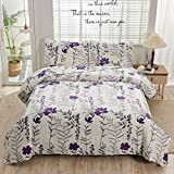 Blossom Bedding Purple Gray Floral Bedspreads Quilt Queen/Full Lightweight Breathable Bed Cover Soft Microfiber Bontanical Coverlet Blanket Home Decor