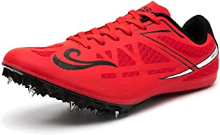 Track & Field Spikes, Junior Track & Field Shoes Running Training Sneakers Unisex Running Spikes Sprint Spikes,Red,39EU