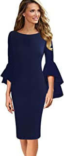 Womens Ruffle Bell Sleeves Business Cocktail Party Bodycon Sheath Dress