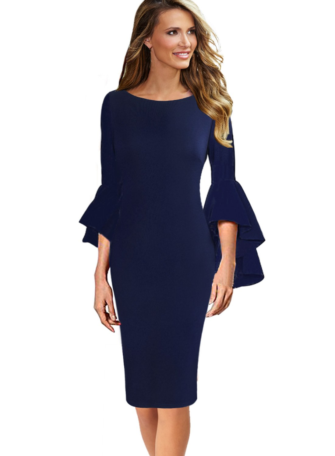 Party Dresses - Womens Ruffle Bell Sleeves Business Cocktail Party Bodycon Sheath Dress