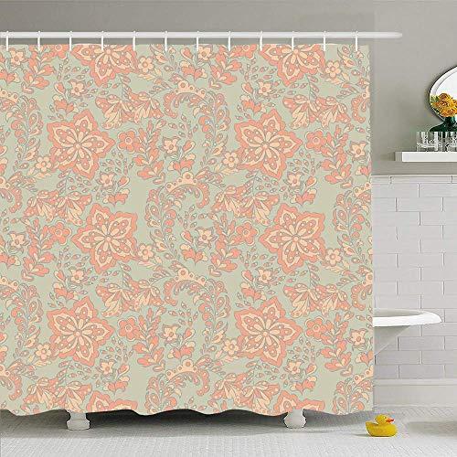 AdaCrazy Paisley Floral Design Floral Floral arabischen portugiesischen Patch Marokko asiatischen Batik Bad Duschvorhang Moderne Bad Vorhang 71 x 71 Zoll 12 Kunststoff Haken wasserdicht