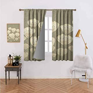 Curtains for Living Room Pastel Beige Toned Flower Blooms Floret Buds Essence Nature Themed Artsy Illustration Taupe with Beautiful Patterns 96