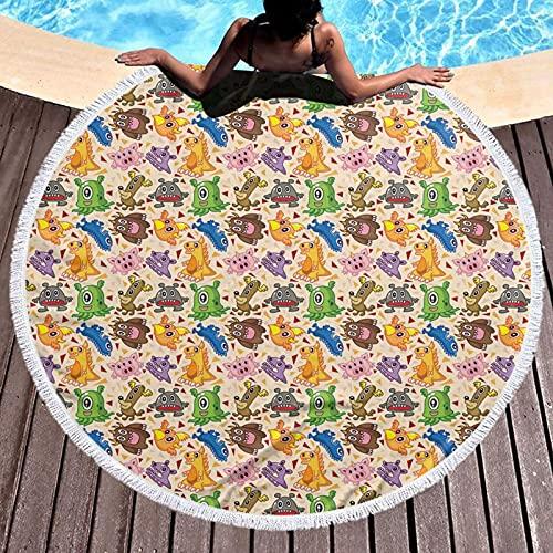 Toalla de playa redonda de microfibra, diseño de dragón Phoenix, personajes ficticios, triángulos abstractos de dibujos animados, ligera toalla de playa para mujeres y hombres de 122 cm