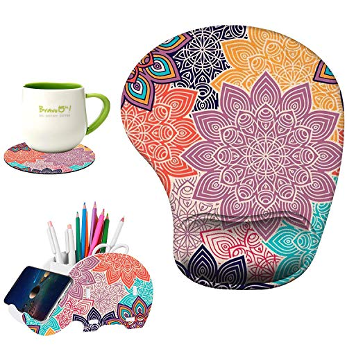 Ergonomic Mouse Pad with Wrist Support Non-Slip PU Base for Laptop, Computer, Gaming, Office,Matching Elephant Pen Holder and Cup Coaster(3-Abstract Flower)
