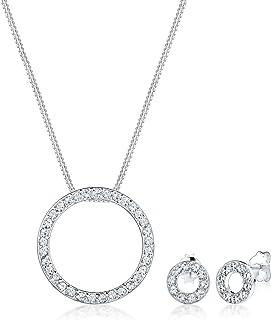 Elli Women Round Circle Geo Swarovski® Crystals 925 Sterling Silver Jewellery Set