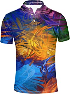 HUGS IDEA Bright Colol Men's Polos Shirt Fashion Short Sleeve