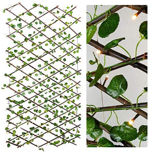 Gartenpirat Ausziehbares Deko-Rankgitter 180 x 90 cm mit Lichterkette und künstlichen Blättern
