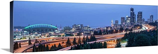 GREATBIGCANVAS Gallery-Wrapped Canvas Panoramic Seattle Skyline at Dusk by Circle Capture 48