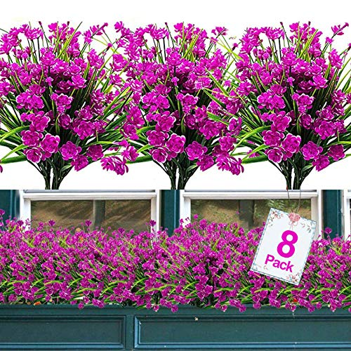 8PCS Artificial Flowers Outdoor UV Resistant Plants, 8 Branches Faux Plastic Corn-flower Greenery Shrubs Plants Indoor Outside Hanging Planter Kitchen Home Wedding Office Garden Decor (Magenta)
