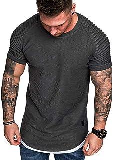 DADKA Men's T-Shirt Fashion Summer Pleats Slim Fit Raglan Muscle Workout Short Sleeve Top Blouse