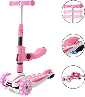 Hikole 2-in-1 Scooter for Kids with Folding Seats & Height Adjustable & Folding Scooters - 3 Lighting Wheels Kick Scooter for Girls Boys Great Outdoor Toy for Kids (Pink)