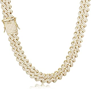 PY Bling 14K Gold/White Rose Gold Plated 12mm Hip Hop Full Iced Out Miami Cuban Link Chain Choker CZ Lab Diamond Necklace/Bracelet for Men