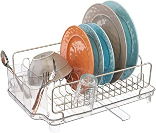 mDesign Large Kitchen Countertop, Sink Dish Drying Rack with Removable Cutlery Tray and Drainboard with Adjustable Swivel Spout - 3 Pieces, Satin Wire/Clear Cutlery Caddy and Drainboard