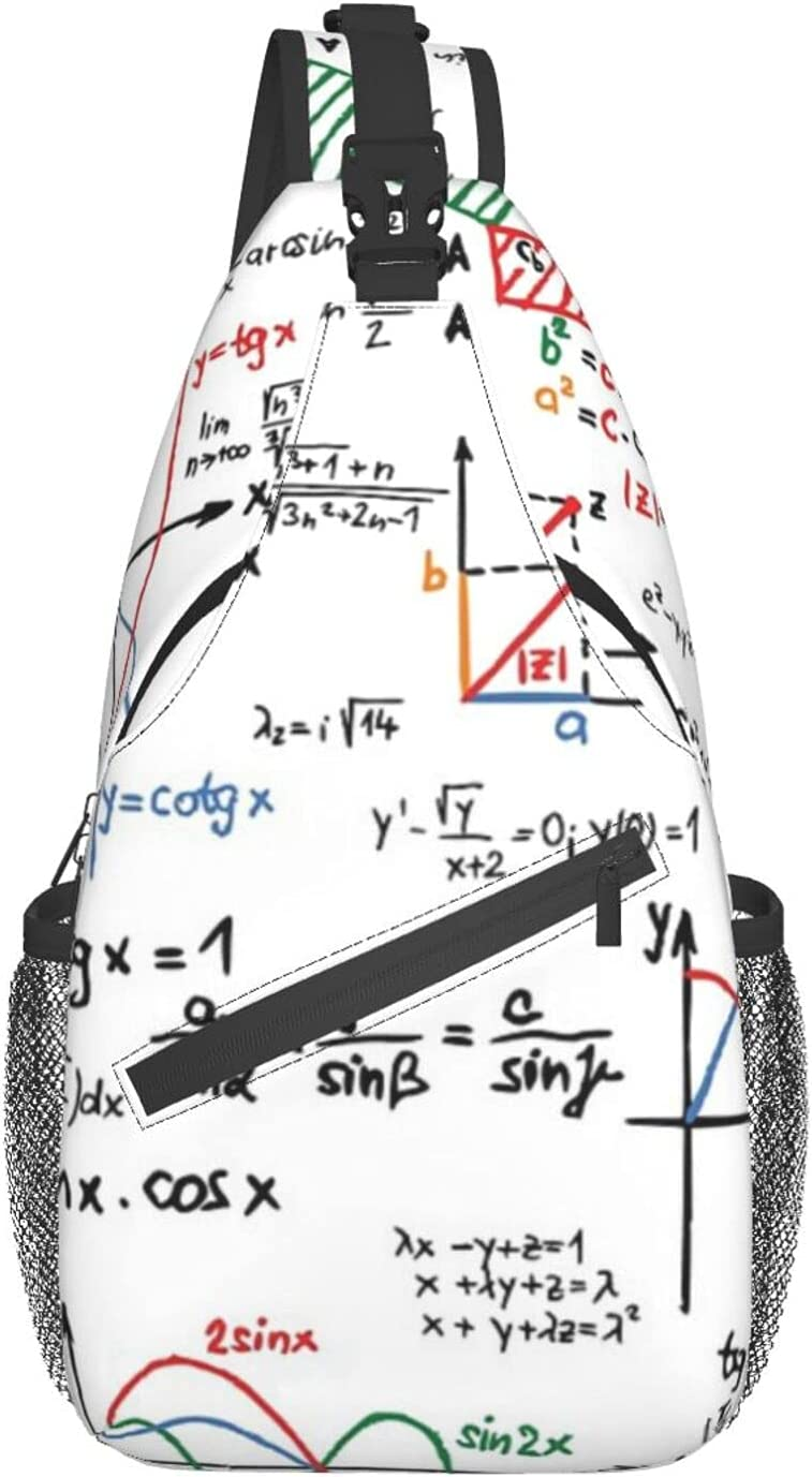 Fashion Mathematics Formulas 70% OFF Outlet Numbers chest diagonally Backpack bag Sling