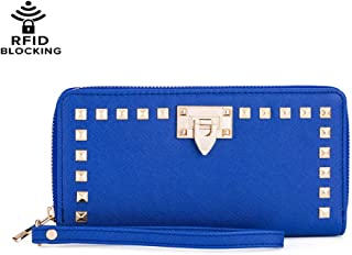 Women Studded Wristlet Wallet Purses with Cell Phone Holder Travel RFID Blocking Zip Around Clutch Credit Card Pocket