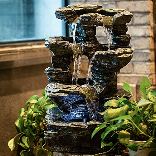 CYA-DECOR Rock Tabletop Fountain Indoor, 4 Tiers Waterfall Fountains Outdoor with LED Lights, 24 Inches Height