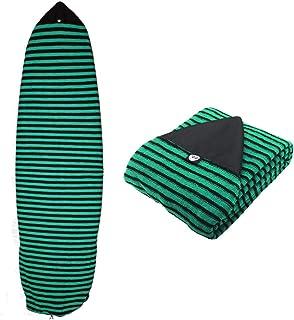 Ultrafun Surf Board Sock Cover Strentch Knit Point Nose Surfboard Sock Bag 6ft/6.6ft/7ft/8ft (Green Stripe, 7ft)