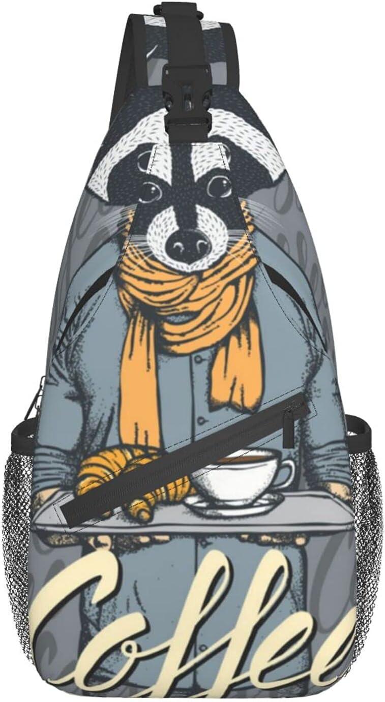 Sling Backpack Raccoon Coffee Cross Cros Chest Hiking Long-awaited Bag Long Beach Mall Travel