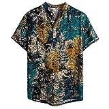 UELNncm - Camisas hawaianas de lino para hombre con botón e