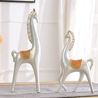 Fenghejp Room Living Room Home Decoration Study Room Decoration Horse Small Jewelry Display TV Cabinet Modern Crafts Wedding Gift (Color : Silver)